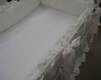 Vintage White Washed Linen Ruffled Crib Bedding-Medium Weight Washed Linen-Optional Fitted Crib Sheet- Optional Changing Pad Cover