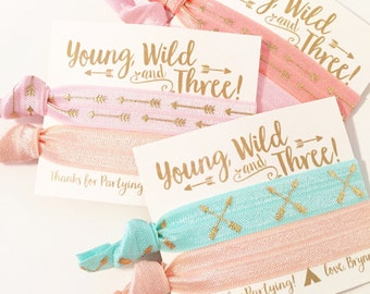 Young Wild & Three Birthday Party Hair Tie Favors | Boho Birthday Party Hair Tie Favors, Bohemian Feather Arrow Aztec Tribal Print Hair Ties