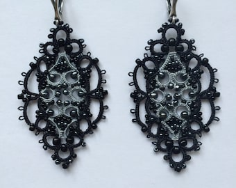 Tatting Lace earrings handmade using the traditional tatting technique from the finest yarns earrings tatting
