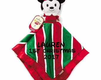 Holiday Minnie Mouse Lovey Snuggle Blankey Security Baby Blanket lovey - Monogrammed