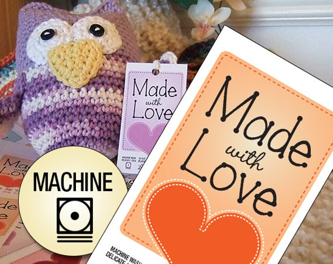 """Laundry Care Tags for Delicate Machine Washing Handmade Items """"Made With Love"""""""