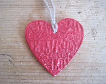 Hanging Ceramic Love Heart