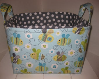 Ready to Ship!! Large Diaper Caddy / Organizer Bin / Storage Basket - Blue Yellow Grey White Bumble Bee Polka Dot- Personalization Available