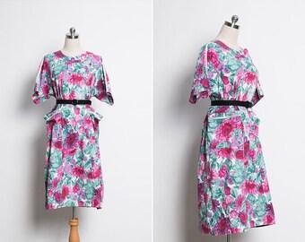 Japanese Vintage Smock Dress / 70s Vintage Floral Dress / Maxi Dress / Garden Floral Print Dress / Vintage Summer Midi Dress / Size Large L