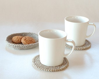 Hand crocheted linen doilies - Set of flax coasters in a crochet basket - Two coasters and a teapot pad
