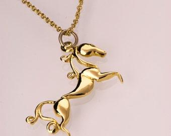 Horse Pendant - 14K Gold Pendant, horses gold pendant, horse necklace, equestrian pendant