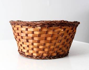 vintage basket, woven basket bowl