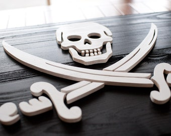 Jolly Roger Pirate Wood Flag, Calico Jack Flag, Pirate Flag, 3D, Wooden, vintage, art, wall art, Pirate, Skull and Crossbones, home decor