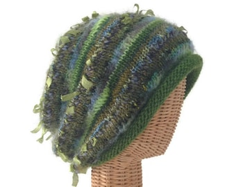 Green Slouchy Stocking Hat Hand Knitted  Blended Yarns Stocking Cap  Knit Hat Boutique Hat