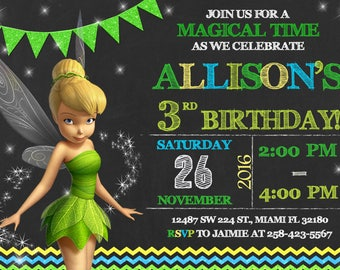 Tinkerbell Invitation Birthday Tinkerbell Party