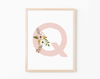 Blush Bloom Q Nursery Art. Nursery Wall Art. Nursery Prints. Nursery Decor. Girl Wall Art. Personalized Wall Art. Monogram Art. Floral Art.