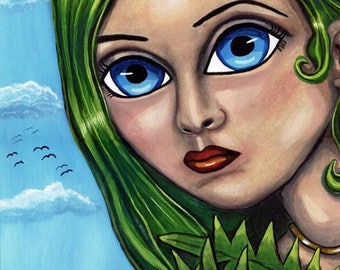shy jungle fairy art print  big eye art, womans face, fantasy fairies original art green