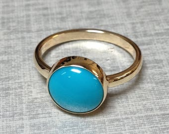 Turquoise gold ring - Gold Rings For Women - Arizona Turquoise Engagement Ring or Birthstone Ring