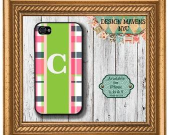 Preppy Plaid iPhone Case, Personalized iPhone Case, Plaid Monogrammed iPhone Case, iPhone 4, 4s, iPhone 5, 5s, 5c, iPhone 6, 6s, 6 Plus