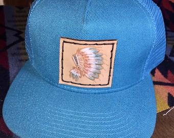 Headdress patch on hat
