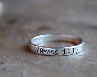 Sterling Stacking Ring  .  James 1:17  .  Motivational Jewelry  .