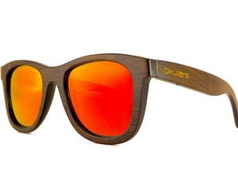 Okulars® Dark Bambou - Lunettes de Soleil en Bois pour Homme & Femme, Fait à la Main - Taille unique - Lentilles Polarisées Miroir - UV400