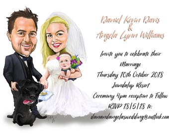 Custom caricature couple - Great wedding gift, save the date notice or guest signage board - Custom wedding portrait