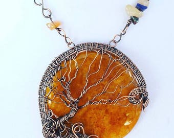 LARGE Harvest Moon Wire wrapped tree of life #2 - Honey Aventurine - Wire Sculpture - TOL
