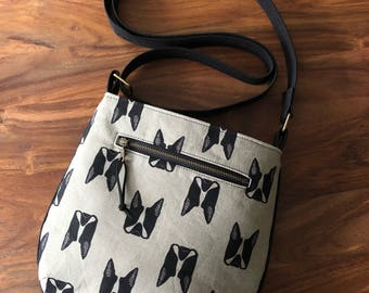 Small Rounded Adjustable Crossbody Trail Tote Bag - Gray Boston Terrier - Made to Order