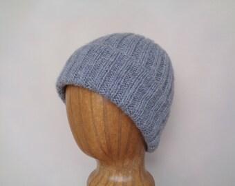 Cashmere Beanie Hat, Hand Knit, Light Gray, Fluffy Cashmere Hat, Watch Cap Length, Men & Women, Luxury Gift