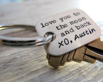 Love you to the Moon and Back, Personalized Key Chain, Sterling Silver, Grandpa Gift, Father's Day Gift
