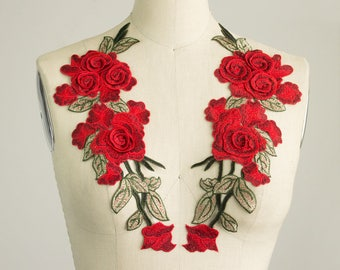 NEW ITEM! Red Roses Iron On Patch Applique / One PAIR / 3-D Petals / Rose Vine / Embroidered Patches / Gucci Style / Jeans / Shoes / No Sew