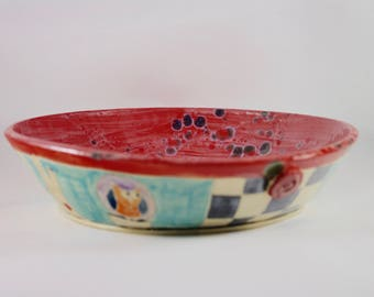 Large Ceramic Pasta Bowl Large Salad Bowl kitchen serving bowl 9th Anniversary Gift Wedding Couples Gift Mother Gift Pottery Handmade
