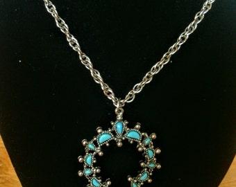 Vintage Horse Shoe Shaped Faux Turquoise Pendant Necklace