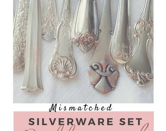 Vintage silverware set, wedding silverware, Service for 4, 8, 12+, mismatched flatware, wedding cutlery, farmhouse decor, wedding gift