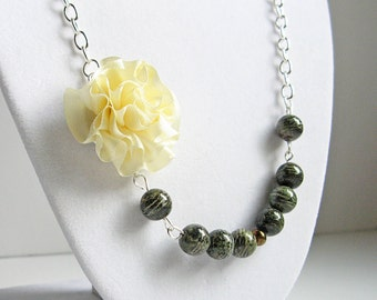 Yellow rose necklace, statement necklace, bridesmaid jewelry, jasper beads necklace, beaded necklace, yellow and green, silk rose necklace