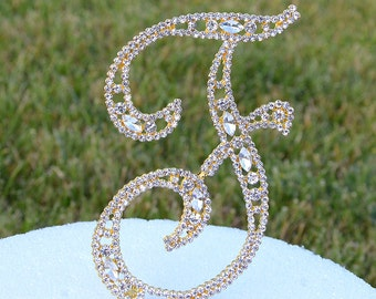 "Large 5""  Crystal Rhinestone Gold Cake Topper Letter ""F"" Monogram Wedding Birthday Party Top Initial CT088"