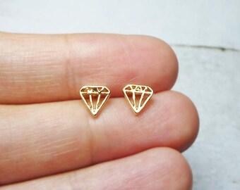 Mini Diamond Outline Stud Earrings, Dainty Earrings - Gold