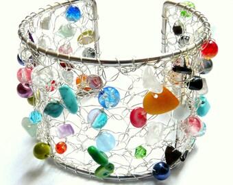 Crochet handmade multicolor wide Cuff Bracelet. Gift idea for woman 50