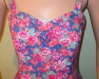 Vtg. 80s does 50s Summer Prom/Garden Party Laura Ashley Dress UK 14 Eur 40 USA12 SALE