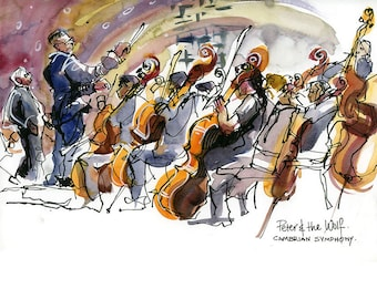 Cambrian Symphony: archival fine art print from a watercolor sketch, choose from 4 pieces