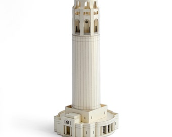 Coit Tower, architecture paper model kit of San Francisco landmark || scale 1/300 || white or limestone color