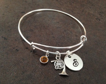 French Horn Charm Bracelet, Initial Charm Bangle, Musician, Band, Orchestra, Personalized, Hand Stamped, Alex and, Expandable, Gift for Her
