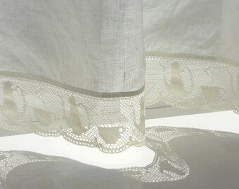 Tea cup lace cafe curtain panel, pure linen kitchen privacy curtain, natural white linen valance with coffee cups crochet lace