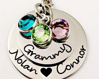 Grammy Custom Necklace, Grandma Mommy Mom, Personalized Grandma Gift, Grandma Necklace, Mother's Day Gift,  Grammy Jewelry, Birthstone