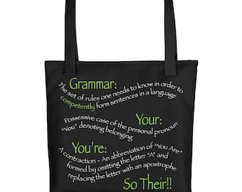 Grammar Tote Bag, Grammar Police Gift, Grammar Lover Gift, Funny Grammar Gift, Grammar Gift, Teacher Gift, English Major Gift, Grammar Tote