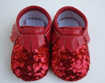Ruby Red Slipper- Baby moccasin- Toddler moccasin- fringe moccasin