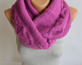 Hand Knitted Infinity Scarf- Loop Scarf- Fuchsia Lilac Scarf- Neckwarmer- Wrap Scarf- Infinity Scarf