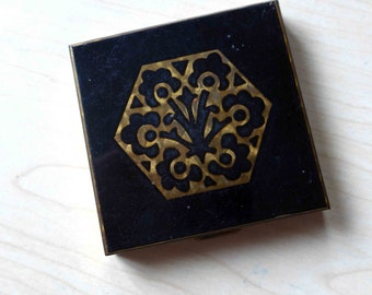 Amazing French Vintage 1940's Powder Compact Art Deco Style, Black Enamel and Golden Metal