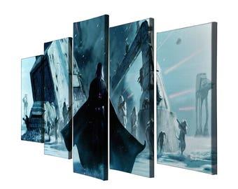 5 Panels Star Wars Darth Vader Painting Printed on Canvas Wall Art Picture for Home Décor Contemporary Artwork Split Canvases  sc 1 st  Etsy & Star wars canvas art | Etsy