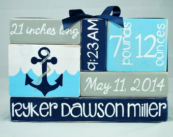 Anchor Nautical Baby Birth Stat Nursery WoodenBlock Shelf Sitter Stack, birth announcement, new mom gift, custom baby, ocean theme,name sign