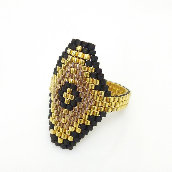 Black and Gold Ring, Hexagon Ring, Luxe OOAK Ring, Spanish, Egyptian Style, Geometric Ring, Beaded Hexagon, Baroque | BITHIAH