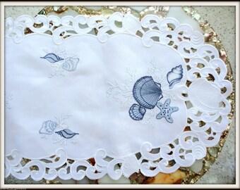"35""  Embroidered Dresser Scarf Seashell Nautical Ocean Table Runner Beach House"