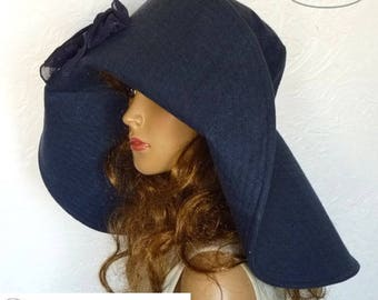 Wide brim hats, A hat with a wide brim, Women's summer hat, Dark blue, Linen clothes, Flaxen hat, Folding hat, Travel hat