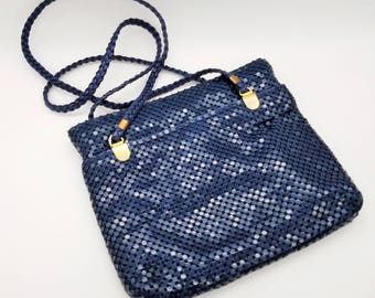 Vintage Navy Blue Metal Mesh Pursh With Gold Accents - Like New Condition